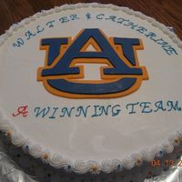 Auburn Wedding Shower Cake WASC cake with Almond buttercream. Cake for a colleague who was getting married. He is a big Auburn fan, but I am a bigger Alabama fan--...