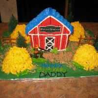Barn With Hunter John Help from the kids for Daddy's birthday. This picture was taken just before the dog ate two haystacks....
