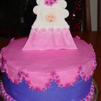Shower Cake Idea for the cake came from one of my Wilton yearbooks. Baby is MMF, everything else BC.