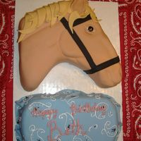 Horse Head  Horse head , Used fondant to cover and decorate horse. Needed more cake for the party, so I added a paisley print bandana. First time doing...