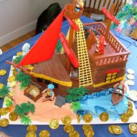 Luke's Pirate Ship Cake   This cake was done for my son's 3rd birthday. There's a pirate ship cake kit that i used and followed their directions.
