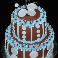 Blue/brown Cake For Fun I have a party to go to tonight, so I decided to get in some cake practice....It is covered in chocolate MMF (I used Hershey's Special...