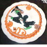 Halloween Cake With Piped Figures