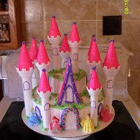 Princess Castle Made it for the twins birthday, made with yellow cake and chocolate pudding, covered in whip cream frosting. Sugared the cones, outlined...