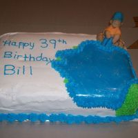Bill's Fisherman.... birthday cake for bill. i used fondant for the figure and log and lake on it.
