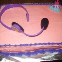Hannah Montanna This was another last minute cake. I did yellow cake with purple swirls in it. Then topped it with pink icing and a purple border. I got...