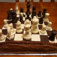 Chess Birthday Cake   Made this for my son's 10th birthday -- he's really into chess.
