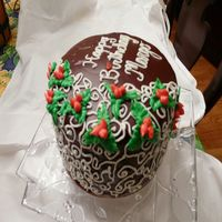 Side View Chocolate Glazed   Side view of the cake.