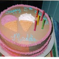 Maddie's Ice Cream Cake This was a 10' round with choc buttercream and bc ice cream cones. Really simple cake....