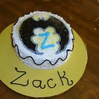 "Zac's Batman Cake Friend of dh's grandson's mini Batman cake.....6"" round with fbct of Batman sign. It was a lot of fun to make."