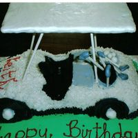 Carved Golf Cart Cake  My first carved cake for a friend's dh's 40th bday. Golden Butter Vanilla cake with bc frosting....graham cracker top with...