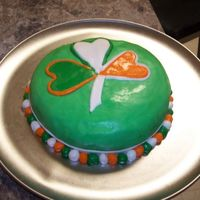 Simple St. Patricks Day Cake It was my first cake so I tried to keep it pretty simple. Just fondant I dyed with color gels. I made the fondant from scratch, it was MM....