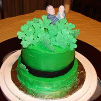 St. Patrick's Day Hat Cake Buttercream Frosting with Royal Icing clovers.