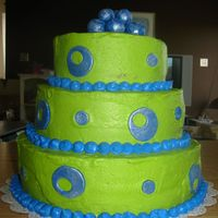 Green And Blue Circles I made this for a birthday party. I suck at buttercream, but that is what what requested. The cake is devil's food and the circles and...