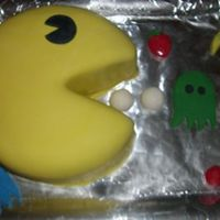 "Pac-Man  a VERY last minute cake for an 80s ""Yurn Back the Clocks"" party. Inspired by a CC member. Simple yellow cake with a light..."
