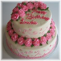 Pink Roses And Swirls A Birthday cake for a lady who loves pink. All buttercream with pink pearl dust accents.