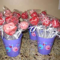 Valentine's Day Cake Pops Cherry Almond cake pops that I put in little tins for a school fundraiser