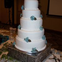 White Fondant Wedding Cake With Sugar Gum Paste Hydrangea  This cake was for my brother's wedding. His fiance (now wife) asked for sugar gum paste hydrangea on a white fondant cake. This was my...