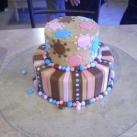 Lori 6/9 white with buttercream filling. Buttercream icing tinted brown. All accents are fondant