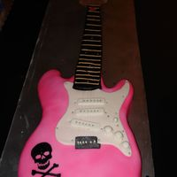 Pink Guitar This cake has got to be my favorite. The neck was cut out of styrofoam then covered in fondant. The body was cake covered in fondant. the...