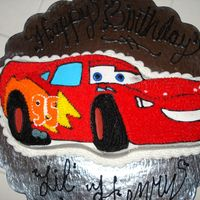 Lightning Mcqueen Made this cake for my son's 2nd birthday...he is a BIG fan of the movie, 'Cars'