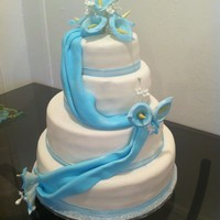 White And Blue Cake fondant with gumpaste cala lilly
