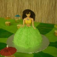 Hawaiian doll cake and cupcakes for a hawaiian party