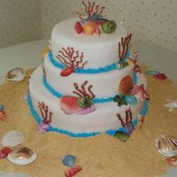 Beach Cake By Maggie's Cakes 101 THIS CAKE WAS FOR A WEDDING AND THE THEM OBVIOUSLY WAS THE BEACH!THE BIG SHELLS ON THE BOTTOM AROUND THE CAKE ARE WHITE CHOCOLATE, AND I...