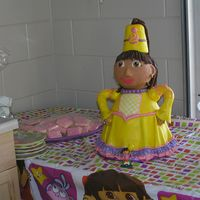 Princess Dora Birthday Cake For my daughters 2nd Bday. Princess Dora. Took hours!!!!. Arms and head are styrofoam covered with MMF. Everything else is cake. Hair is...