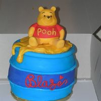 Winnie The Pooh Birthday Cake My first cake for $$$. Baby's first birthday. Made this as cake top of cupcake tree. Made cupcakes with Pooh's face. Of course...