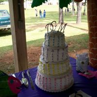 Wedding Cake  So, it wasn't perfect, but I made my own wedding cake! Everyone said I was crazy for making my own wedding cake, but I did it, anyway...