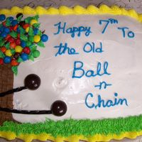 "Old Ball & Chain Marble cake with BC frosting. With the happy couples names both starting with ""M"", I decided to use M&Ms as the flowers on..."