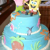 "Oscar's Spongebob Cake 2 tier, 10"" and 6"". Fondant/gumpaste figures. WASC with buttercream. Got lots of ideas from CC. Thank you! Thanks for looking.."