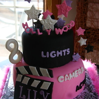 "Lily's Hollywood Birthday 9"" and 6"" tiers, covered in fondant with fondant and gumpaste accents.Thanks for looking :)"