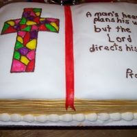 Bible For Vicar Matt I made this cake for our Vicar who was going off to seminary. I did fix the writing before anyone saw it but did not get a new picture....