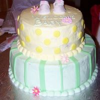 Baby Shower Chocolate cake w/ cherry filling. Designed to match the invitations.