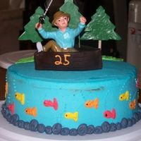 Fisherman I made this for my brother's 25th. Spice cake w/ caramel apple filling. Totally stole the design from Wilton. The trees are made of...
