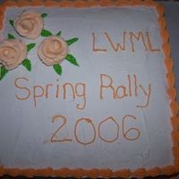 Lwml Spring Rally French vanilla cake w/ lemon filling. This was before I discovered the Melvira method. I couldn't get icing smooth to save my life!!