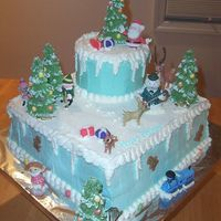 Winter Wonderland This was made for a child's birthday party themed after Christmas. Everything is edible except for the characters. The client bought...