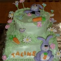 Spring Birthday This birthday cake was themed around Easter. I thank rachelj for sharing her bunny instructions.