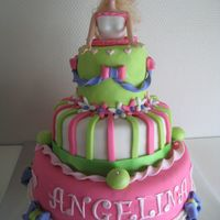 Barbie In A Cake The cake is covered with fondant All of the other details are fondant toI just love the colors of my design
