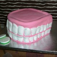 Dentures And Polident I made this for a co-worker's 50th birthday. It's all fondant. I cut each tooth individually and attached to the cake. Using the...