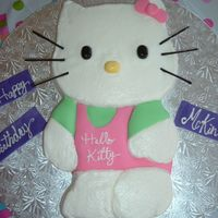 "Hello_Kitty_Cake.jpg Hello Kitty cake for my niece's 4th birthday. Carved from a 10"" round (for head) and 9x13 rectangle (for body). Covered in..."