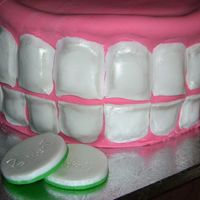 Dentures Close-up of dentures cake: My first fully fondant-covered cake.