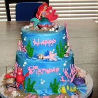 "Little Mermaid Birthday Cake Birthday cake for my niece who turned 3. Funfetti cake (8"" and 6"") iced in aqua buttercream and sprayed with blue Color Mist...."