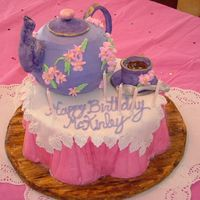 Teapot And Teacup Birthday Cake For my niece's 5th birthday, which had a tea party theme; teapot handle, spout and top and spoon, teacup and saucer are sculpted from...