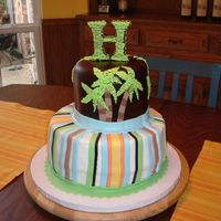 "Jungle Baby Shower Cake For a friend's baby shower; chocolate cake with mint-choc filling; 10"" round iced in white buttercream and fondant stripes to..."