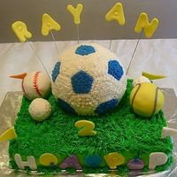 Sports Field I did this for 2 yrs old boy who loves different kind of sports balls. Sheet cake is B/C, soccer ball made with wilton ball pan, tennis,...