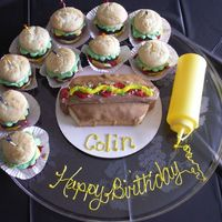 Hotdog & Hamburger Cupcakes   Thanks to all of the beautiful hamburger and hotdaog cakes in the galleries for the inspiration to try my own. My son loved them!