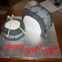 Drums Made this for a friend's son's 15th birthday. The cake is a chocolate cake with a swiss meringue buttercream. The drum sticks are...